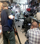 A film crew from the Discovery Channel gets footage from the Clinical Center.